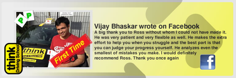 vijay bhaskar left his awesome review of think drivng school and ross dunton adi