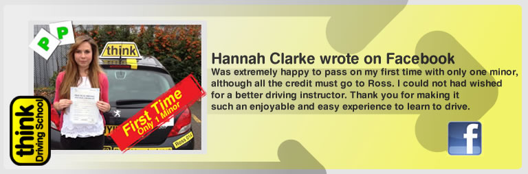 Hannah Clarke left this awesome review of think driving school's ross dunton adi