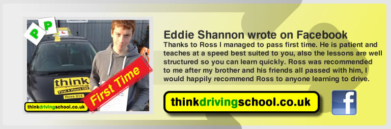 eddie shannon left this awesome review of think driving school's ross dunton adi