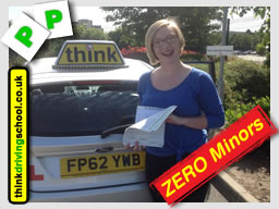 Lauren from Bentley passed with think driving school with ZERO minors