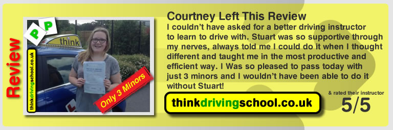 Courtney left this awesome review of driving instructor stuart webb