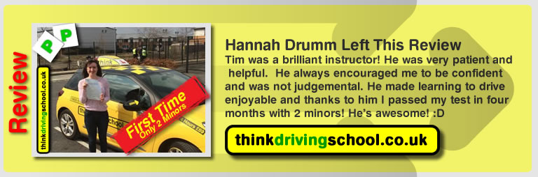 hannah drumm left this awesome review of tim price-bowen at think driving school