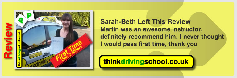 Sarah Beth left this awesome review after she passed after drivng lessons in farnborough with martin hurley