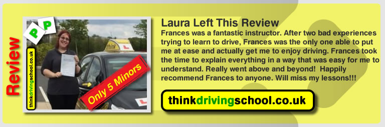 laura left this great 5 star review of driving instructor frances blatch from farnborough