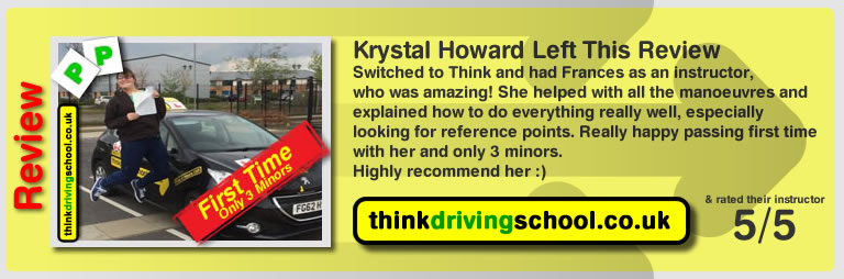 krystal howard left this great 5 star review of driving instructor frances blatch from farnborough
