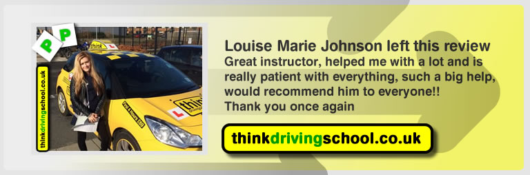 louise marie johnson left this awseom feview of think driving school farnborough and of tim price-bowen his driving instructor
