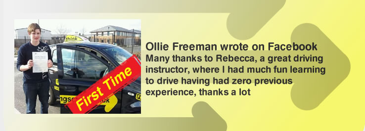 ollie freeman pass after driving lessons with rebecca gaywood and was so hapy he left this great review