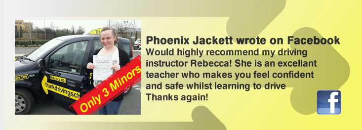 phoenix jackett left a 5 star review of rebecca gaywood from think drivng school