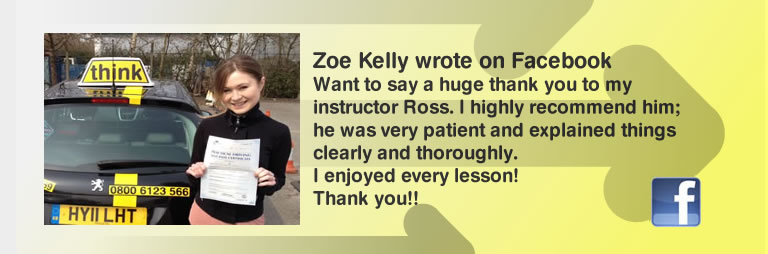 Zoe kelly left this 5 star review of Ross dunton guildford drivin instructor