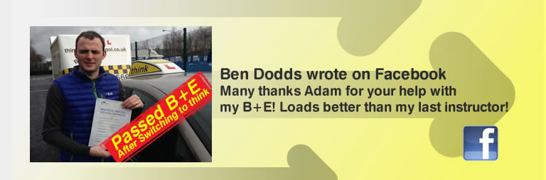 ben dodds passed his B+E test and left this 5 star review of think drivng school