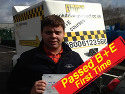 nathen passed B+E test after trailer lessons with adam iliffe