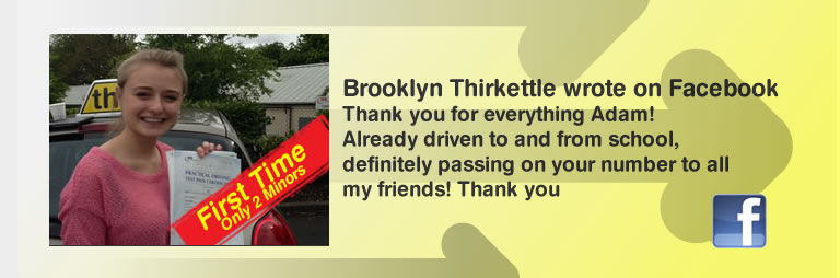 Brooklyn Thirkettle High Wycombe Adam Iliffe think driving school B+E Great review of think drivng school