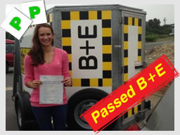 Ria from Newbury passed her B+E trailer test with adma iliffe from high wycombe