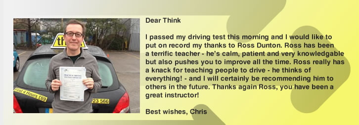 Great review 5 out of 5 driving lessons Woking and Guildford Ross Dunton think driving school