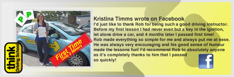 Kristina left this awseom feview of think driving school farnborough and of rob evamy his driving instructor
