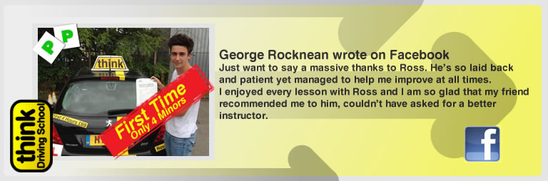 George Rocknean left this awseom feview of think driving school Guildford and of Ross Dunton his driving instructor