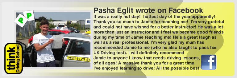 pasha eglit left this awesome review of think drivng school and jamie johnson