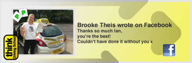 Jamie Owen left this awseom feview of think driving school Bordon and of Ian Weir his driving instructor