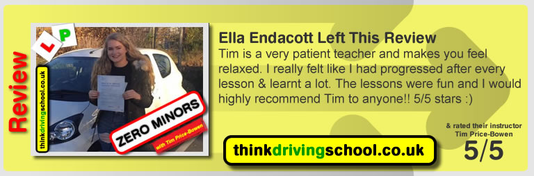 Sam Wilson  left this awesome review of tim price-bowen at think driving school after passing in October 2016