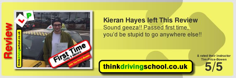 Hannah Doughty  left this awesome review of tim price-bowen at think driving school after passing in April 2017