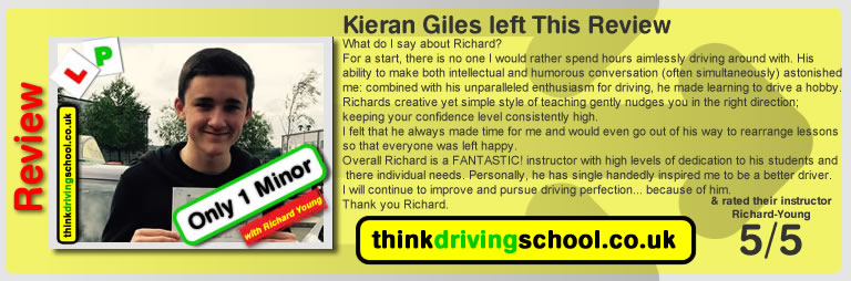 Passed with think driving school in May 2017 and left this review