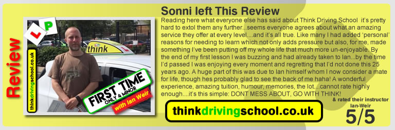 Ellie Campbell passed with driving instructor ian weir and lef this awesome review of think driving school