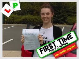 Matt Hillary left this awesome review after she passed after drivng lessons in farnborough with Justin Highley
