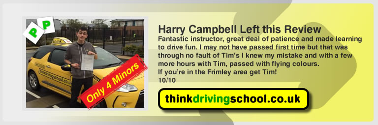 Hollie George left this awseom feview of think driving school farnborough and of tim price-bowen his driving instructor