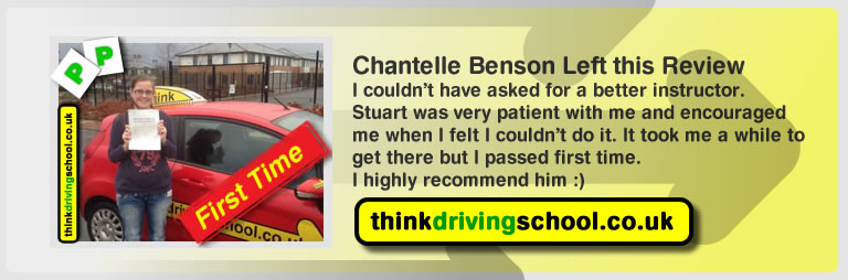 Chantelle Benson  passed with driving instructor stuart webb and lef this awesome review of think driving school