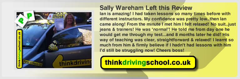 Sally Wareham left this awseom feview of think driving school alton and of Ian Weir his driving instructor