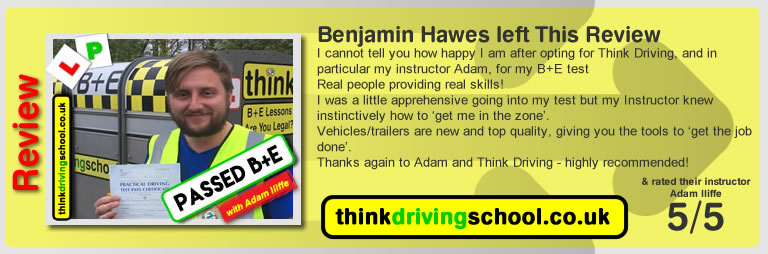 passed in High Wycombe with driving instructor Adam Iliffe