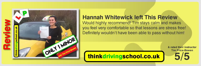 Katherine Rowett  left this awesome review of tim price-bowen at think driving school after passing in December 2017