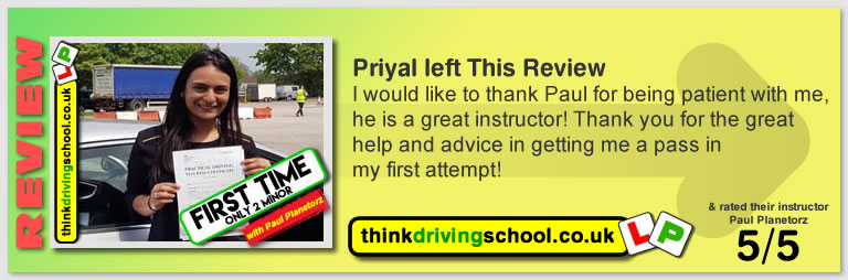Passed with think driving school in May 2018 and left this 5 star review