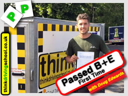 Passed with think driving school in May 2015 B+E Trailer lessons