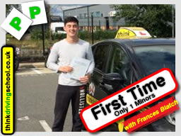 james from farnborough passed first time with driving instructor frances blatch