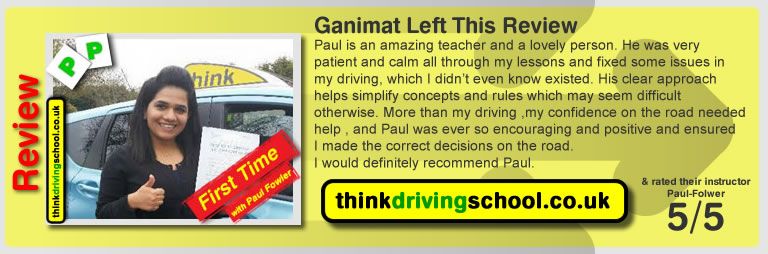 Passed with think driving school in April 2015