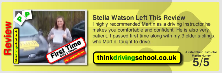 Matt Hillary left this awesome review after she passed after drivng lessons in farnborough with martin hurley