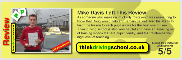 Jasgua Cain left this awesome review of Douglas Edwards at think driving school