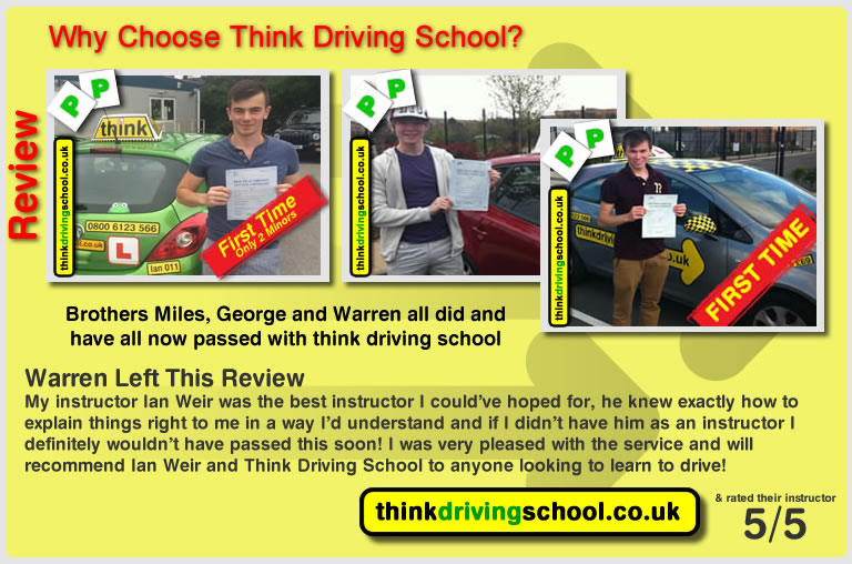 Francesca Williams passed with driving instructor ian weir and lef this awesome review of think driving school