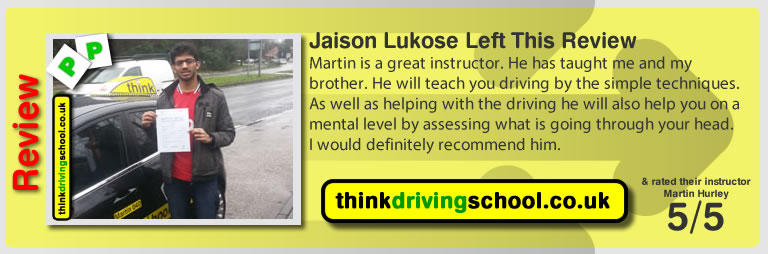 Jaison left this awesome review after she passed after drivng lessons in farnborough with martin hurley
