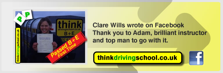 Clare wills passed B+E with adam iliffe from high wycombe driving school