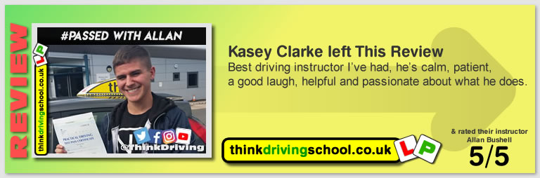Passed with think driving school in September 2018 and left this 5 star review