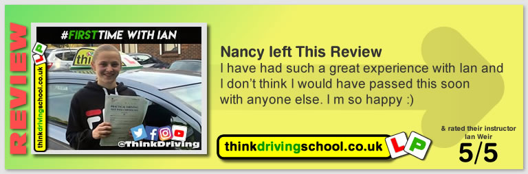 Alexandria passed with driving instructor ian weir and left this awesome review of think driving school