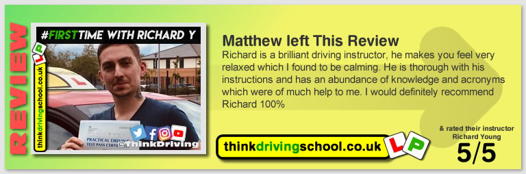 Matthew passed with richard young from Farnham driving school in June 2019