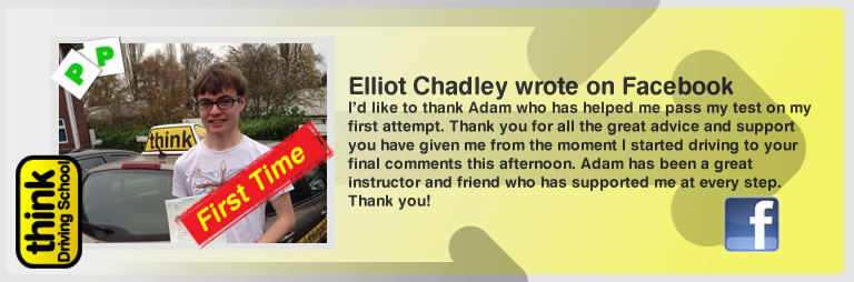 Elliot chadley passed with adam iliffe from high wycombe driving school