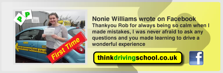 Nonie Williams passed with rob evamy from bordon driving school