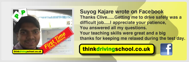 Suyog Kajare passed with Clive Tester adi  from guildford driving school