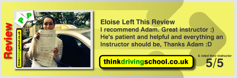 Eloise McDermot left this awesome 5 star review of high wycombe driving instructor adam iliffe
