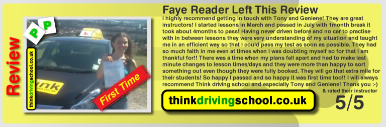 tony's first pass with think drivnig school faye from horndean who passed first time