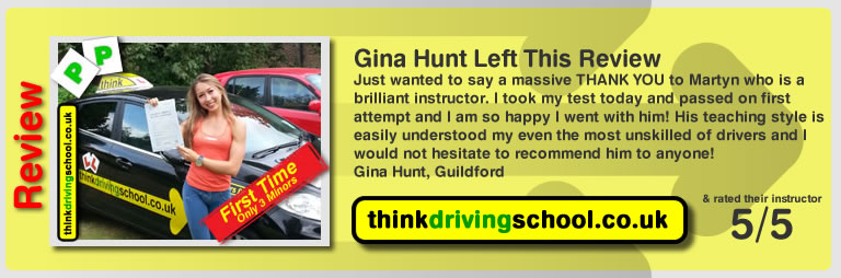 Gina Hunt left this awesome review after she passed after drivng lessons in farnborough with martin hurley